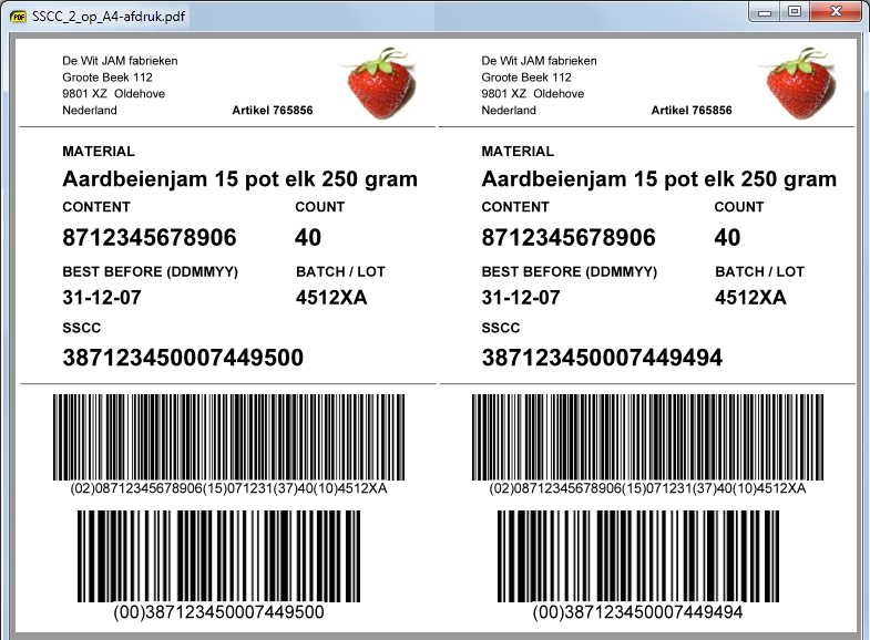 Food labels met barcode t h t ingredienten voorbeelden t for Barcode food